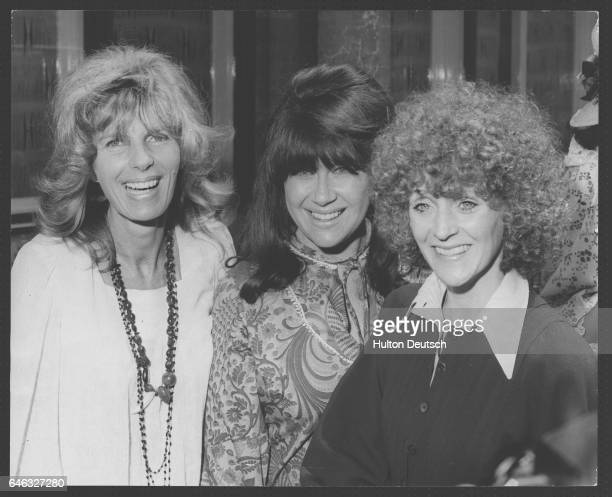 English actress Polly James with her costar from the TV series 'The Liver Birds' actress Nerys Hughes' and its creator Carla Lane London 1974