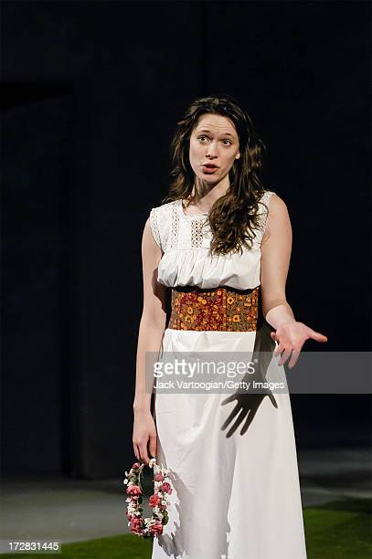 English actress Rebecca Hall performs in the final dress rehearsal of the Theatre Royal Bath's production of 'As You Like It' at the Brooklyn Academy...