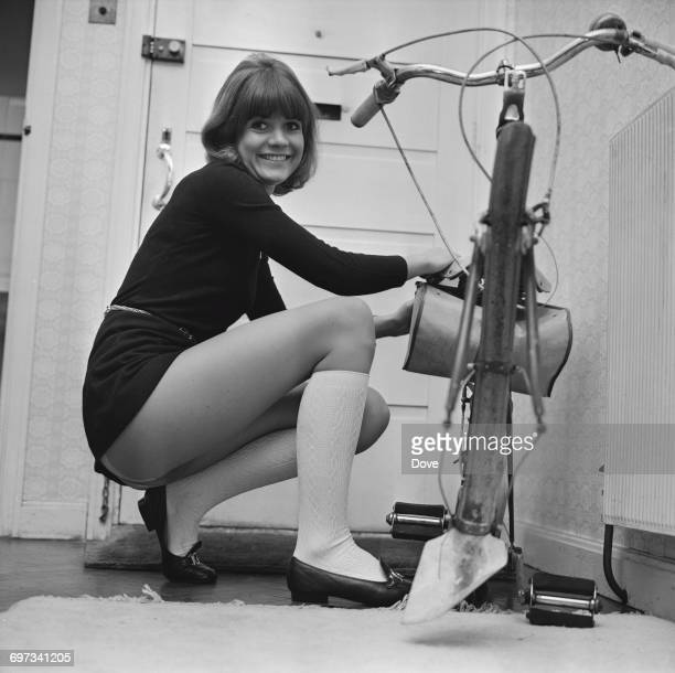 English actress Sally Geeson with the remains of a bicycle UK 9th November 1969