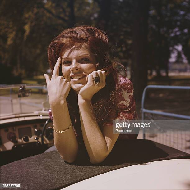 English actress Samantha Eggar who appears in the film 'The Wild and the Willing' pictured sitting in the back seat of an open top car in 1962