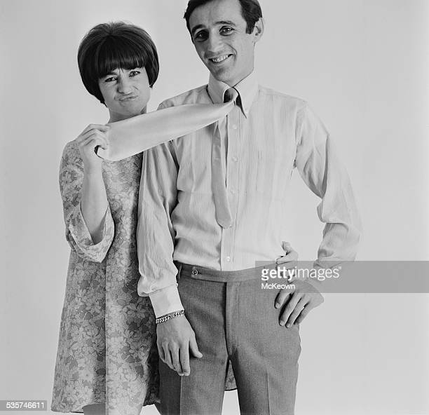 English actress Shirley Anne Field with her fiancé racing driver Charles CrichtonStuart 28th April 1967 CrichtonStuart is wearing a voile shirt and...