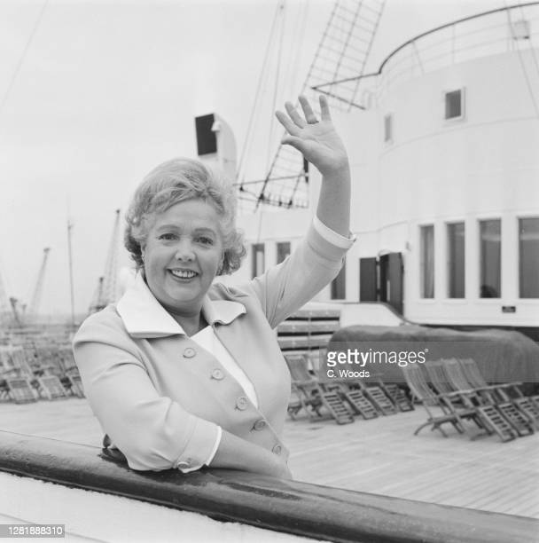 English actress, singer and dancer Jessie Matthews on board the 'RMS Queen Mary', bound for the USA, UK, 9th October 1965.