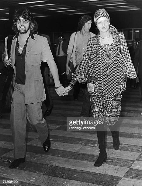 English actress, singer and fashion model Twiggy with her boyfriend and manager Justin de Villeneuve, 1st September 1971.