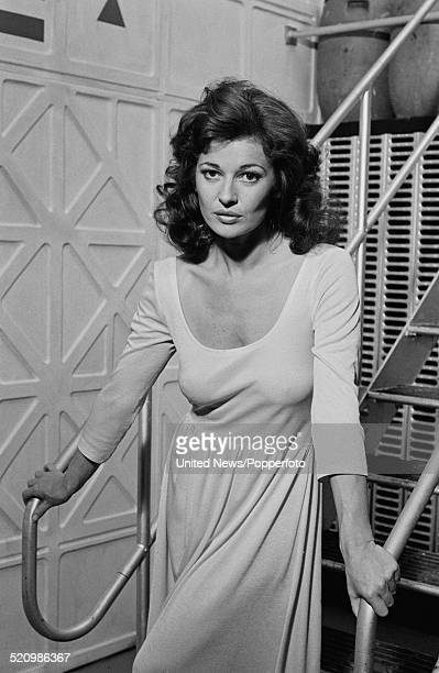 English actress Stephanie Beacham pictured on the set of the film Inseminoid on 6th June 1980