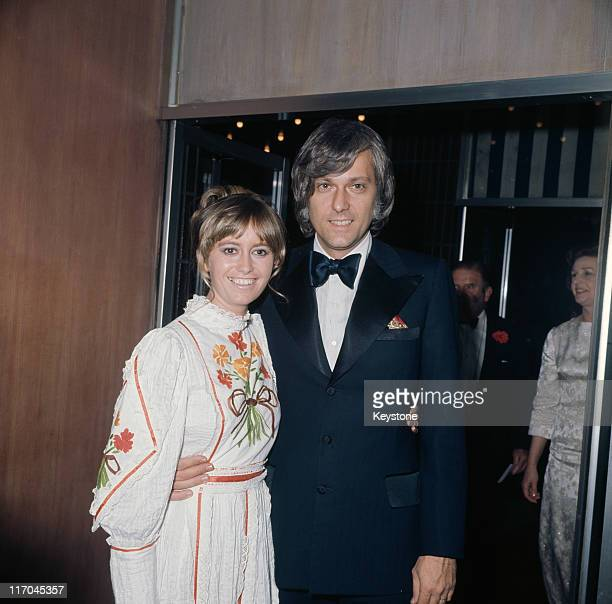 English actress Susan George with her boyfriend American singer Jack Jones at the premiere of the film 'Caravan to Vaccares' 1974
