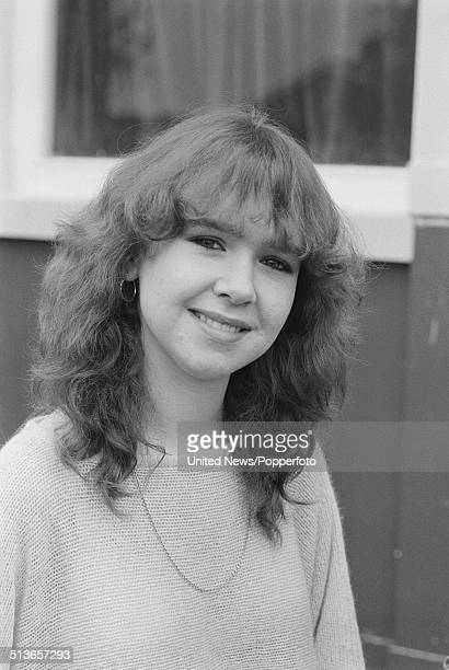 English actress Susan Tully who plays the character Michelle Fowler in the BBC television soap opera EastEnders posed on the Albert Square set in...