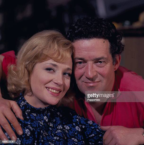 English actress Sylvia Syms posed with English actor John Gregson on the set of the television play 'Depart In Terror' in 1967