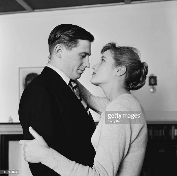 English actress Sylvia Syms with her husband Alan Edney January 1957