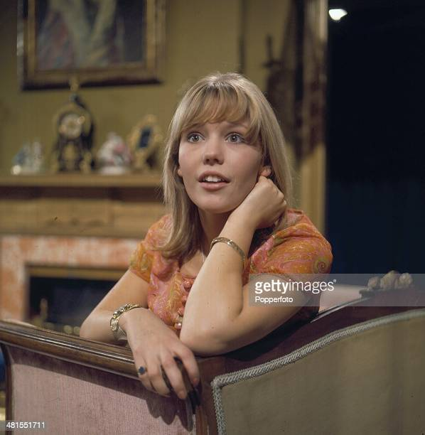 English actress Tessa Wyatt posed on the set of the television drama series 'Armchair Theatre - You and Me' in 1968.