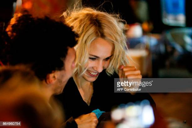 English actress Tuppence Middleton is pictured on the set of Netflix TV scifi series Sense8 in the Montmartre area of Paris on october 21 2017 / AFP...