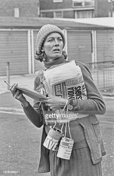 English actress Vanessa Redgrave campaigns for the Workers Revolutionary Party in the run-up to the October 1974 general election, UK, 2nd October...