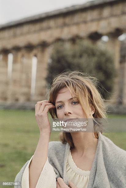 English actress Vanessa Redgrave pictured dressed in character as Isadora Duncan during production of the film 'Isadora' amid the ruins of Paestum in...