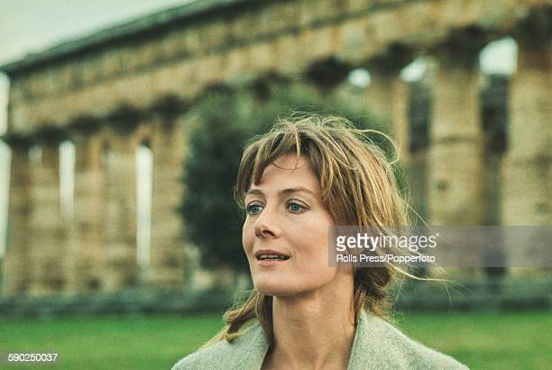 English actress Vanessa Redgrave pictured in character as Isadora Duncan during production of the film Isadora amid the ruins of Paestum in Italy in...