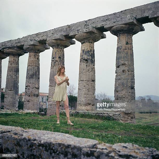 English actress Vanessa Redgrave pictured in character wearing a chiton garment as Isadora Duncan during production of the film Isadora amid the...
