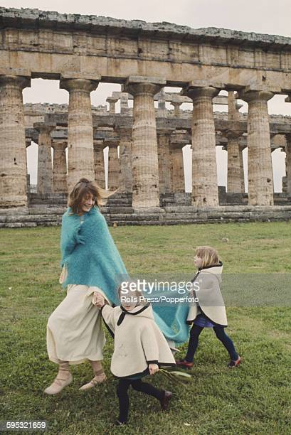 English actress Vanessa Redgrave pictured with her two daughters Natasha Richardson and Joely Richardson during production of the film 'Isadora' amid...