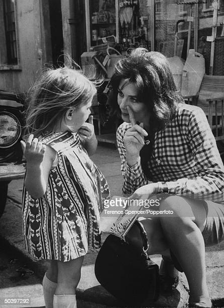Actress Vanessa Redgrave and daughter on set of film BlowUp
