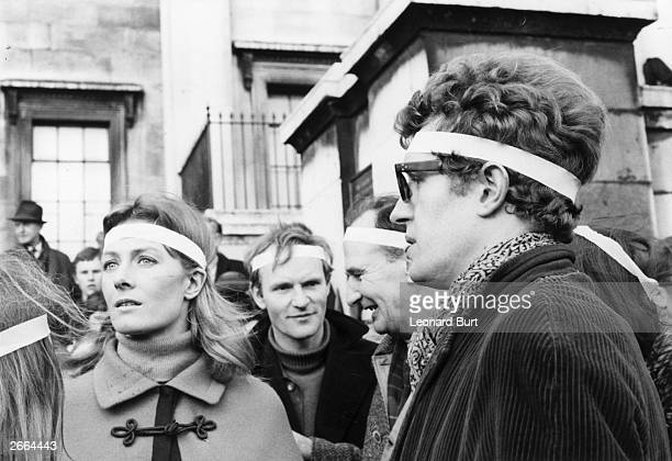 English actress Vanessa Redgrave with her brother Corin at a demonstration outside the American Embassy Grosvenor Square London at the end of an...