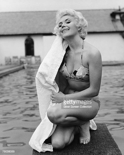 English actress Vera Day towels herself off circa 1970