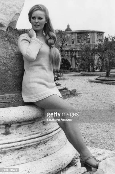 English actress Veronica Carlson during the filming of 'Pussycat Pussycat I Love You' in Rome Italy May 1969