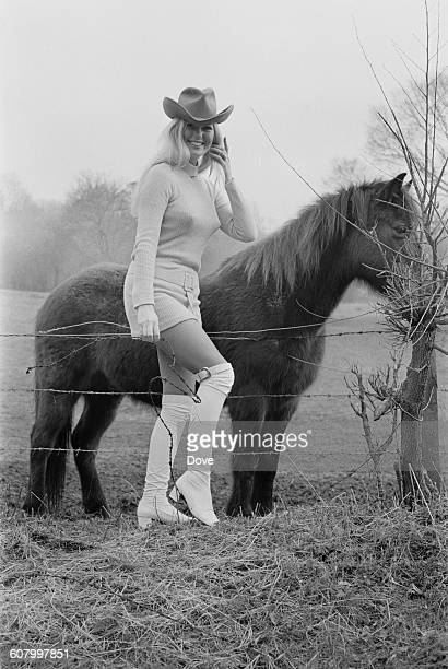 English actress Veronica Carlson with a small horse UK 25th February 1971