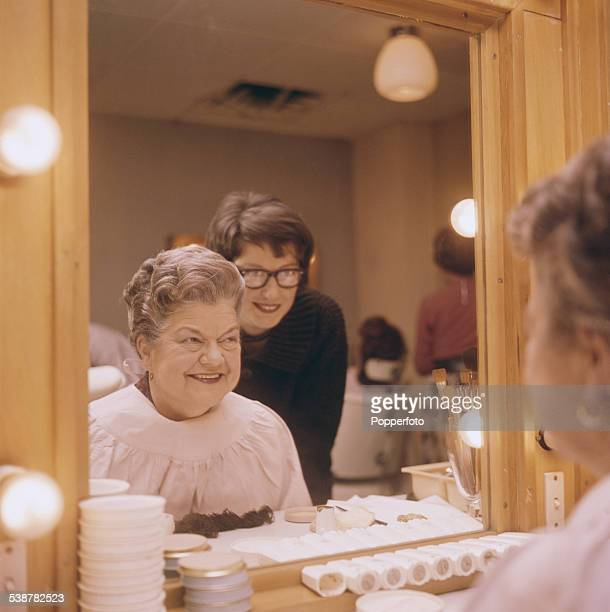 English actress Violet Carson who plays the character of Ena Sharples in the television soap opera Coronation Street sits in makeup at Granada...