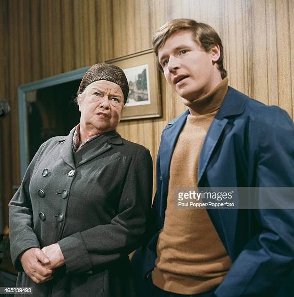 English actress Violet Carson with actor William Roache on the set of the Granada TV soap opera 'Coronation Street' Manchester 1968 They play Ena...