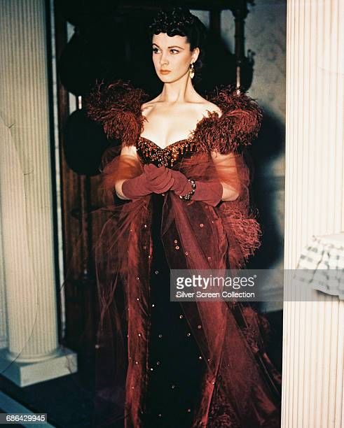 English actress Vivien Leigh in costume on the set of the film 'Gone With the Wind' 1939