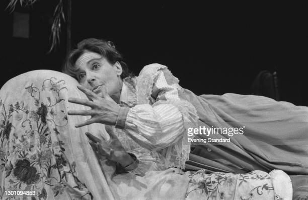 English actress Yvonne Mitchell in a scene from a play, UK, 31st July 1973.