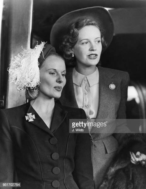English actresses Ann Todd and Phyllis Calvert leave Waterloo Station on their way to Hollywood 26th August 1946