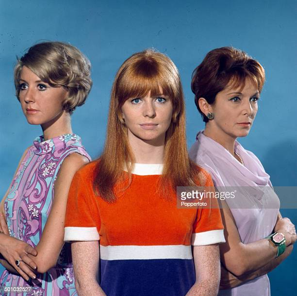 English actresses Diane Clare Jane Asher and Maxine Audley pose on the set of the television drama series 'Summer Playhouse The Man Who Understood...
