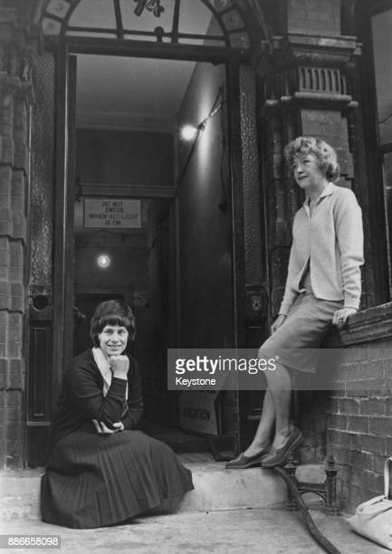 English actresses Dora Bryan and Rita Tushingham outside 74 Fulham Road in Chelsea London where they are filming 'A Taste of Honey' for director Tony...