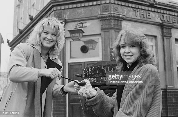 English actresses Gillian Taylforth and Susan Tully who play Kathy Beale and Michelle Fowler in the television soap opera Eastenders posed together...