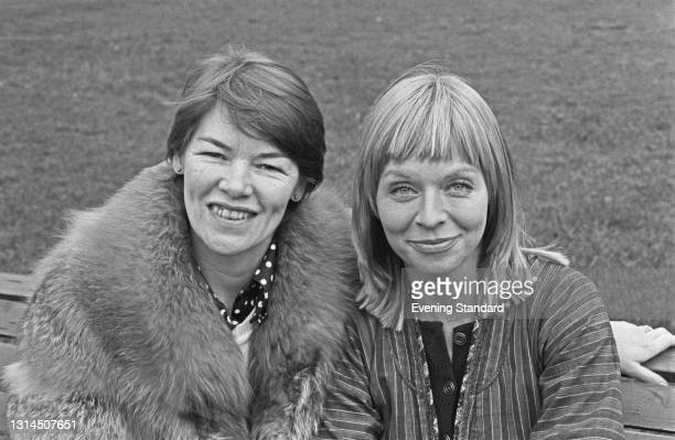 English actresses Glenda Jackson and Susannah York pose in Greenwich Park whilst starring in Jean Genet's play 'The Maids' at the Greenwich Theatre,...