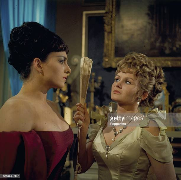English actresses Jennie Linden and Barbara Jefford pictured in a scene from the 1967 television production of the play 'Lady Windermere's Fan'