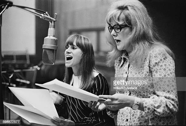English actresses Rita Tushingham and Lynn Redgrave in a recording studio to cut an album of songs from their new film 'Smashing Time' London UK 20th...