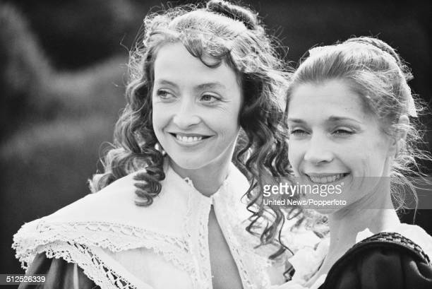 English actresses Sharon Maughan and Judy Buxton pictured in costume as the characters Anne Lacey Fletcher and Susan Protheroe on the set of the...