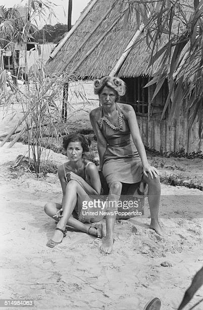 English actresses Stephanie Beacham and Louise Jameson pictured together in character as Rose Millar and Blanche Simmons in a scene from the...