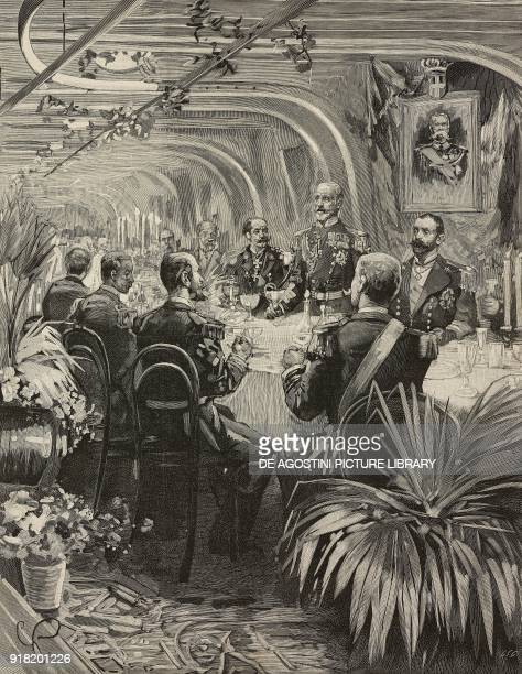English Admiral Michael CulmeSeymour toasting the Italian Navy during the banquet on board the Lepanto battleship La Spezia Italy engraving from...