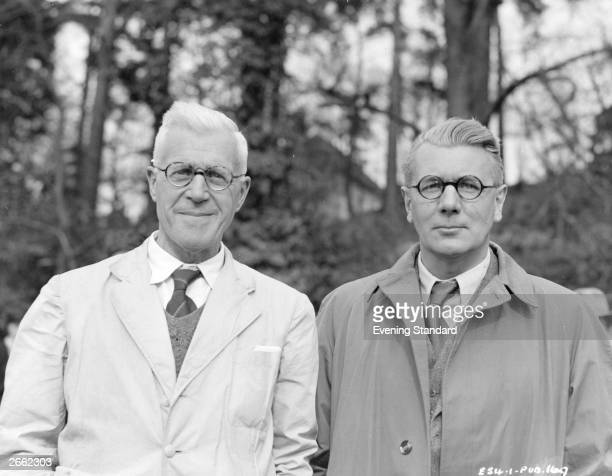 English aeronautical engineer and inventor Barnes Wallis designer of the 'bouncing bomb', with British actor Michael Redgrave who plays Wallis in the...