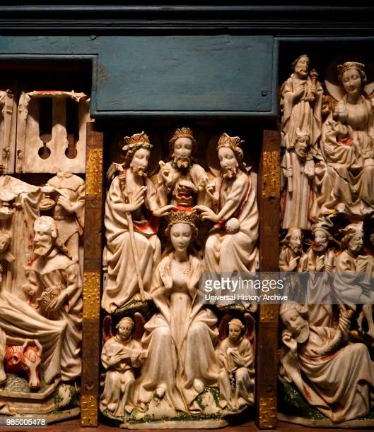 English alabaster altarpiece Kirkjubaer church Southeast Iceland Dated 15th Century