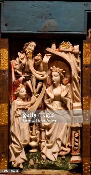 English alabaster altarpiece Kirkjubaer church Southeast Iceland Dated 15th Century