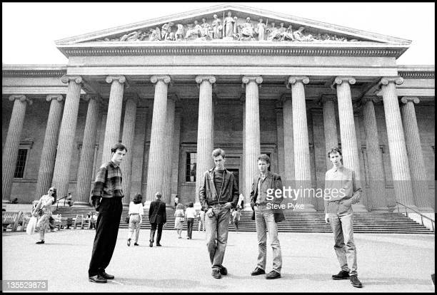 English alternative rock band Felt outside the British Museum London 10th February 1983 Singer Lawrence is at far left