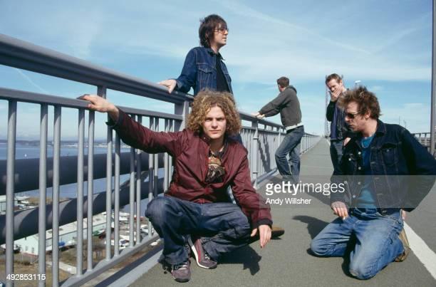 English alternative rock group Toploader circa 2000 Clockwise from front left singer Joseph Washbourn guitarist Dan Hipgrave guitarist Julian Deane...