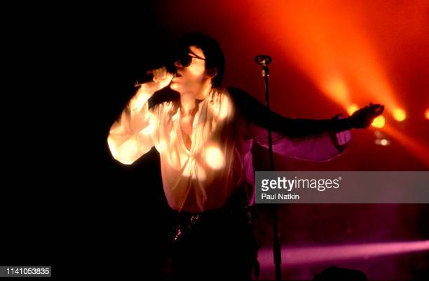English Alternative Rock musician Andrew Eldritch of the group the Sisters of Mercy performs onstage at the Poplar Creek Music Theater Hoffman...
