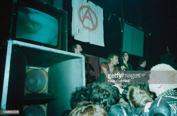 English anarchopunk group Crass performing at the Mayflower Club Manchester October 1981 Left to right Pete Wright Steve Ignorant N A Palmer and Phil...