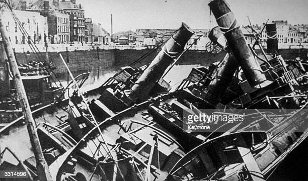 English and French ships sunk by German planes in the harbour at Dunkirk