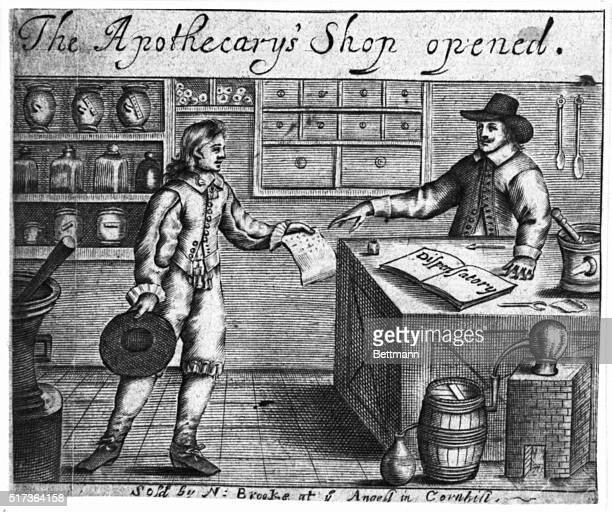 English Apothecary Shop 17th Century After Faithorne Undated illustration BPA2# 3635