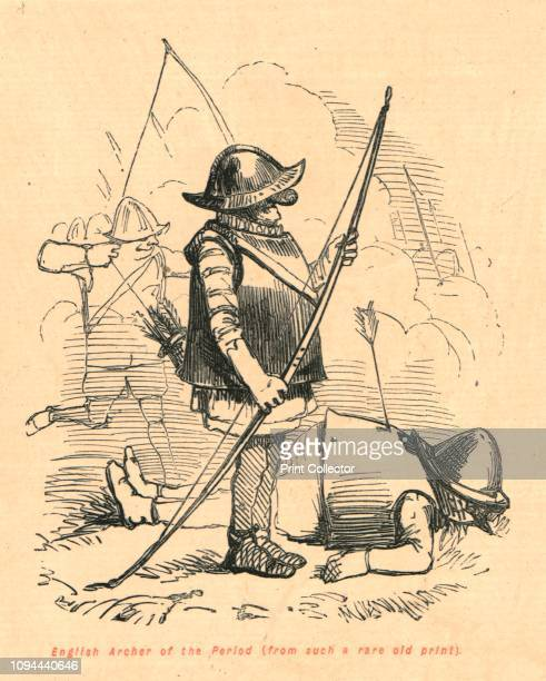 English Archer of the Period ' 1897 Medieval longbowman in metal breastplate and helmet From 'The Comic History of England' by Gilbert Abbott A...