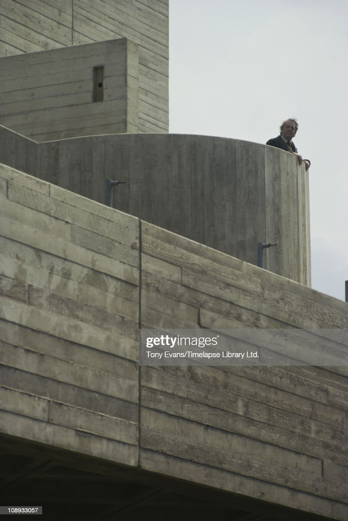 English architect Denys Lasdun at the National Theatre, on London's South Bank, his best known design, 1974.