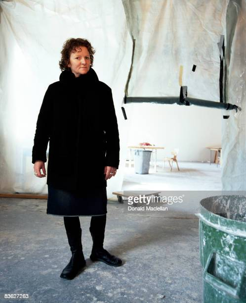 English artist Rachel Whiteread Whitread in a studio, London, 11th March 2003.
